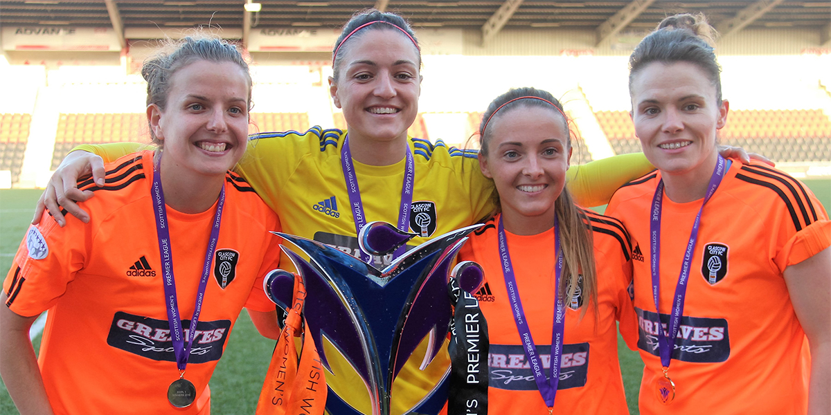 Hayley Lauder (far left) with team mates in Glasgow City